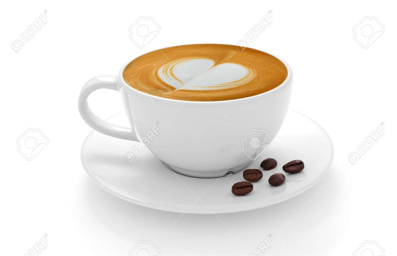 Coffee Latte Cup Of Coffee Latte And Coffee Beans Isolated On White Background