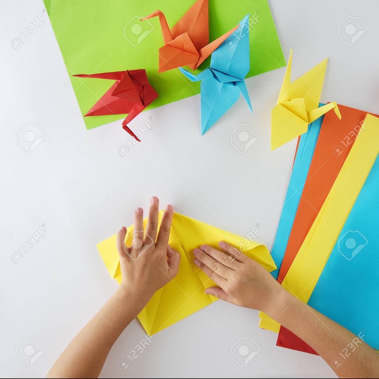 Kinder Origami Stock Photo