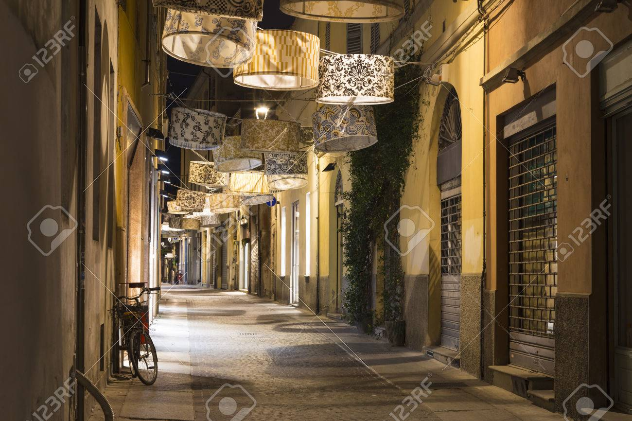 Lit Original Ancient Street Lit By Original Lamp In The Form Of Shade At