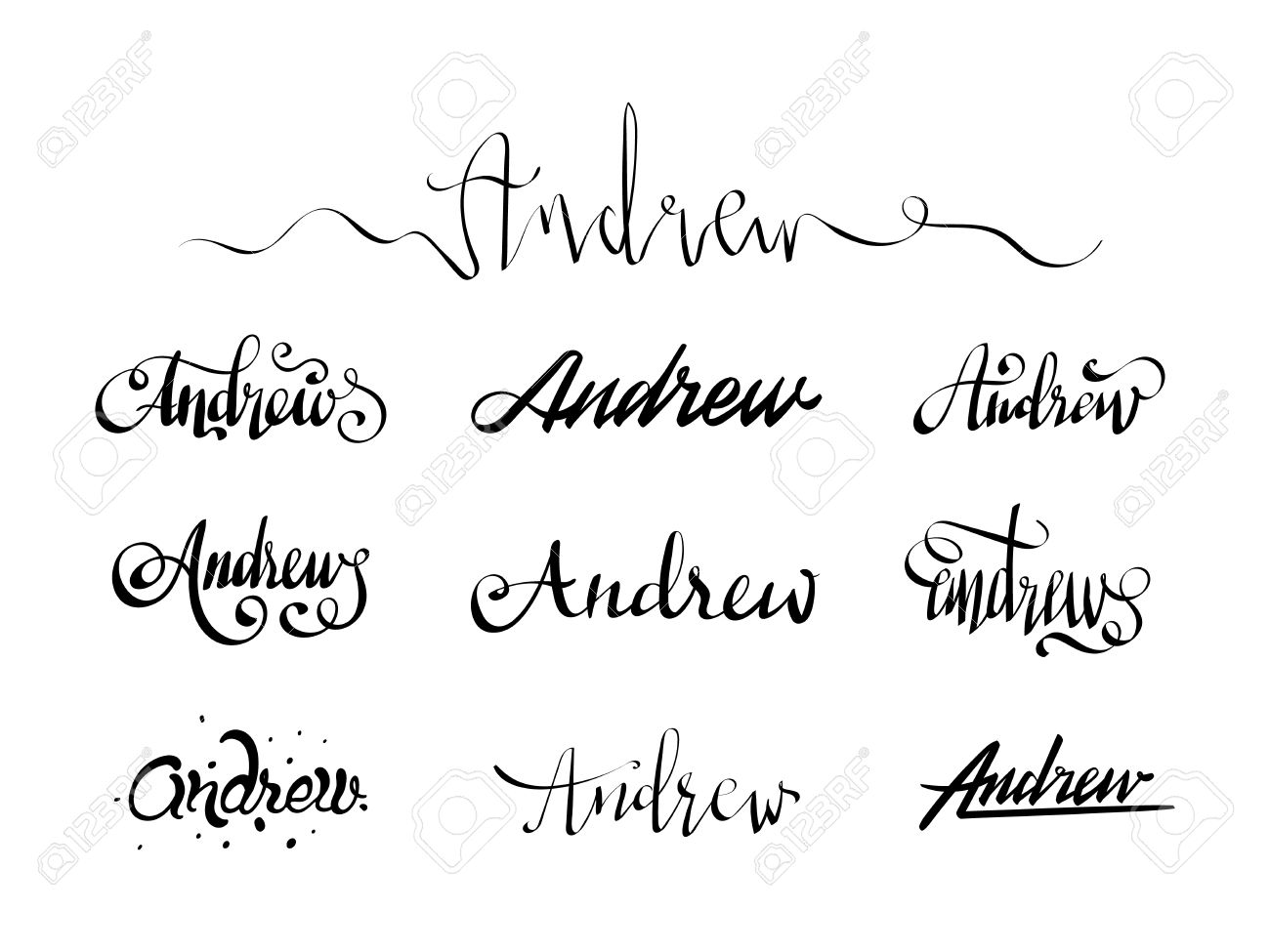 Calligraphy Tattoo Picture Personal Name Andrew Vector Handwritten Calligraphy Tattoo Design