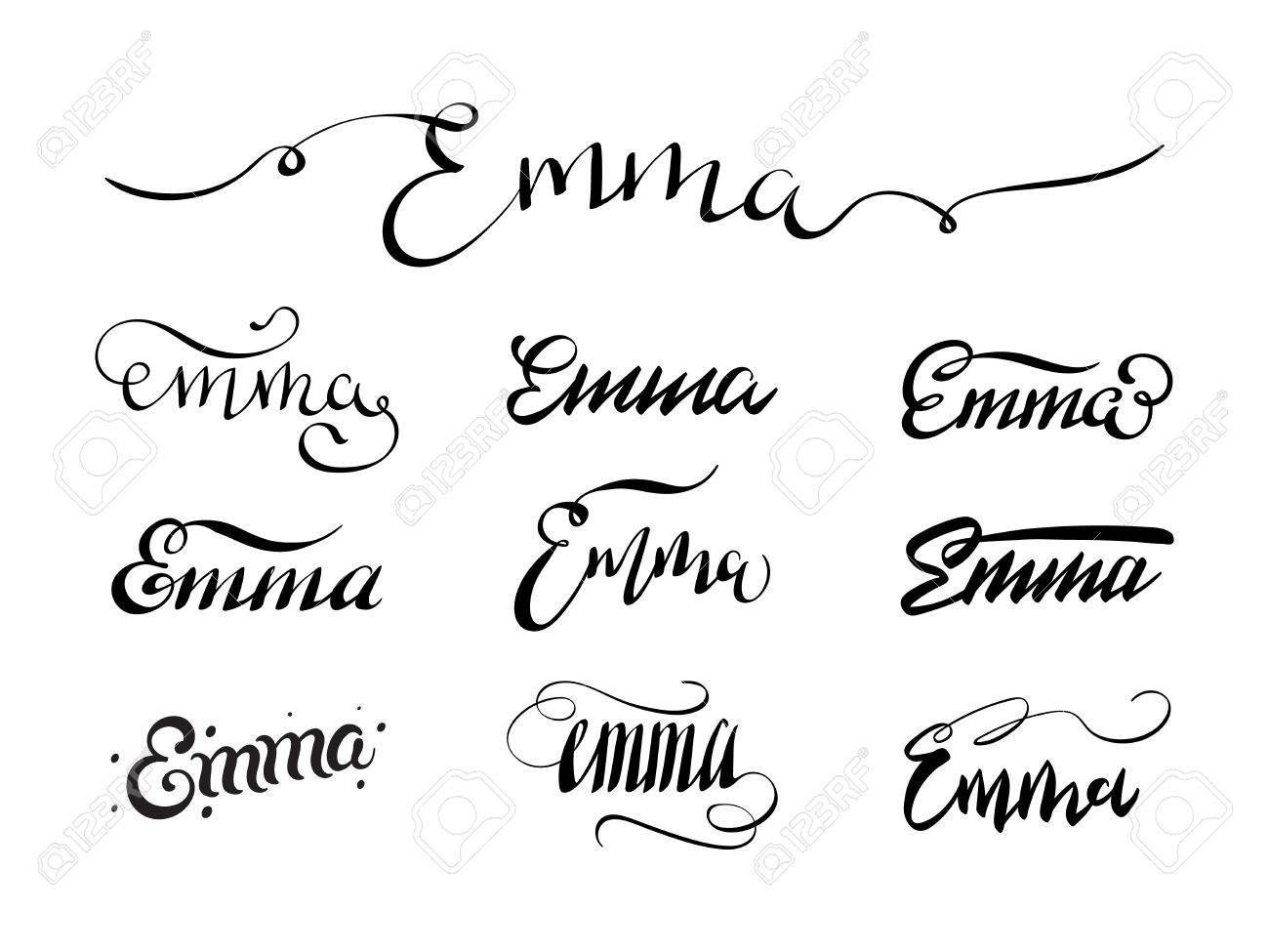 Calligraphy Tattoo Picture Personal Name Emma Vector Handwritten Calligraphy Tattoo Design