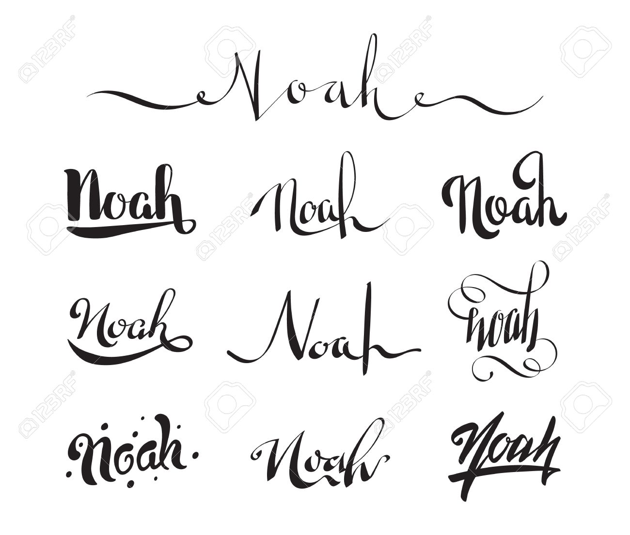 Calligraphy Tattoo Picture Personal Name Noah Vector Handwritten Calligraphy Tattoo Design