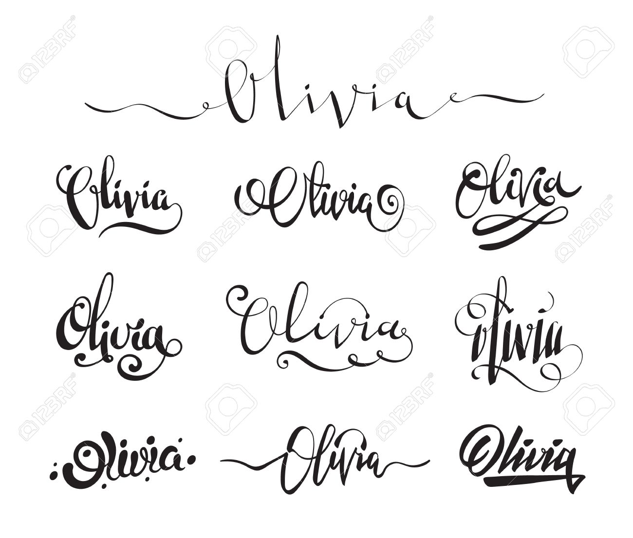 Calligraphy Tattoo Picture Personal Name Olivia Vector Handwritten Calligraphy Tattoo Design