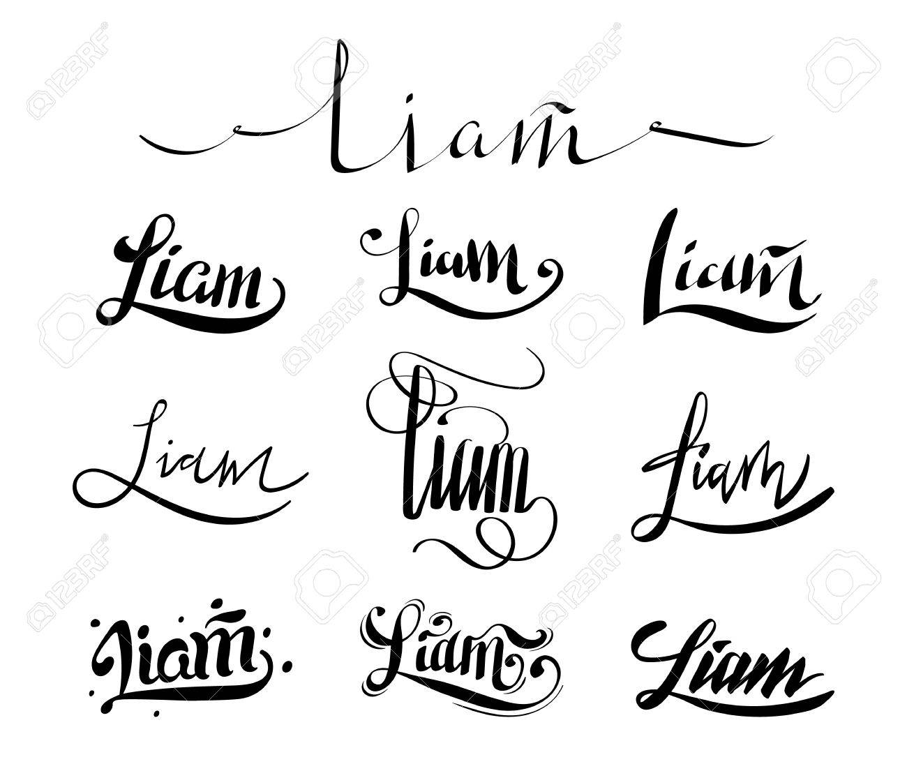 Calligraphy Tattoo Picture Personal Name Liam Vector Handwritten Calligraphy Tattoo Design