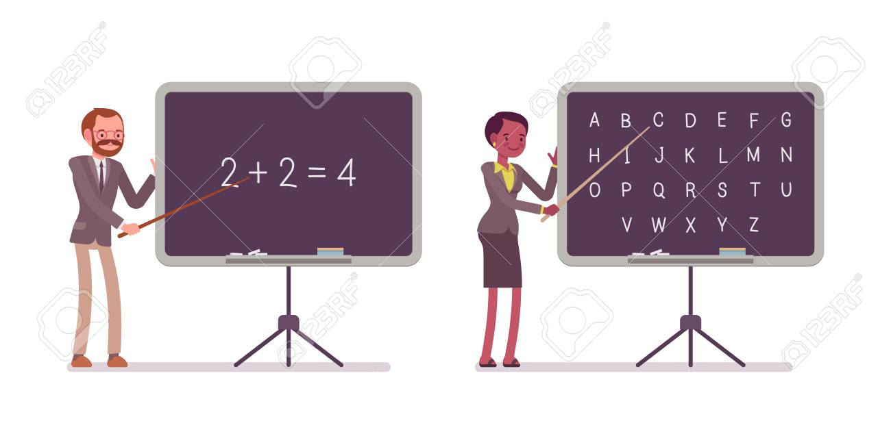 Teaching Maths Teachers Are Teaching Maths And Alphabet On The Blackboard Cartoon