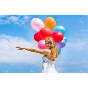 Elegant Balloons Stock Happy Young Lady Celebrates Birthday Playing Happy Young Lady Celebrates Birthday Balloons Stock Happy Birthday Young Lady Images Happy Birthday Young Lady Playing Spanish