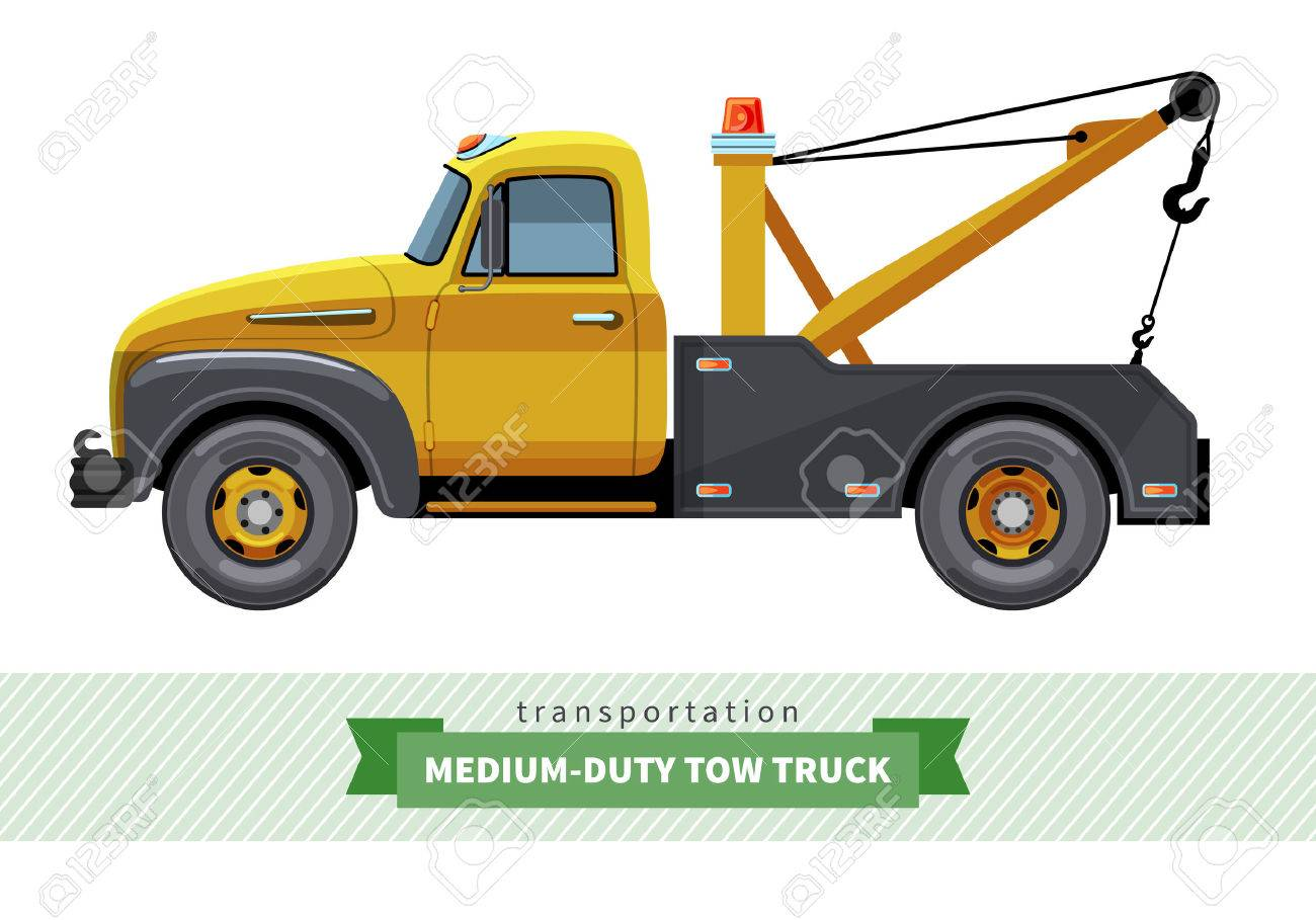 Tow Truck Classic Medium Duty Tow Truck Side View Vector Isolated Illustration