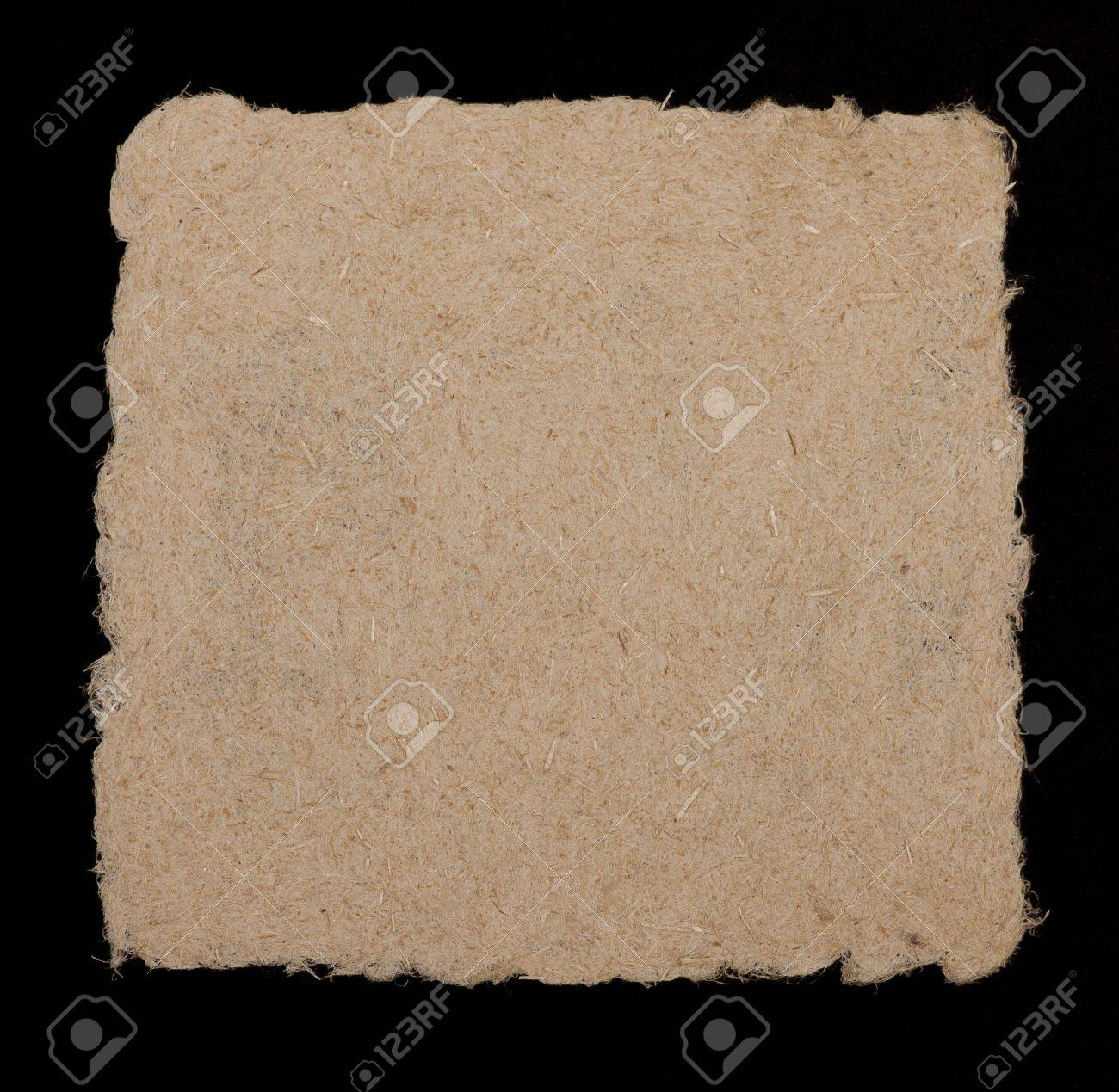 Paspartoe Hema Hand Made Paper From Hemp Fibers Coarse Rough Edged And Fibrous Isolated On Black Background