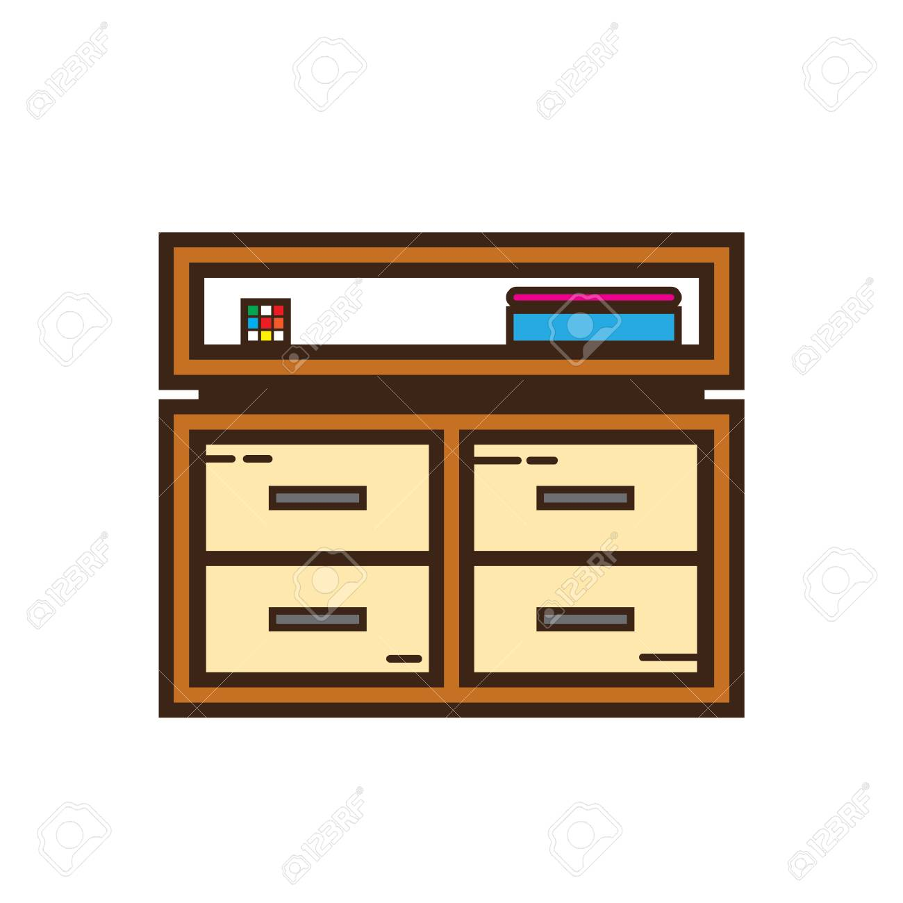 Filing Cabinet Icon Flat Simple Flat Color Cabinet Icon Vector