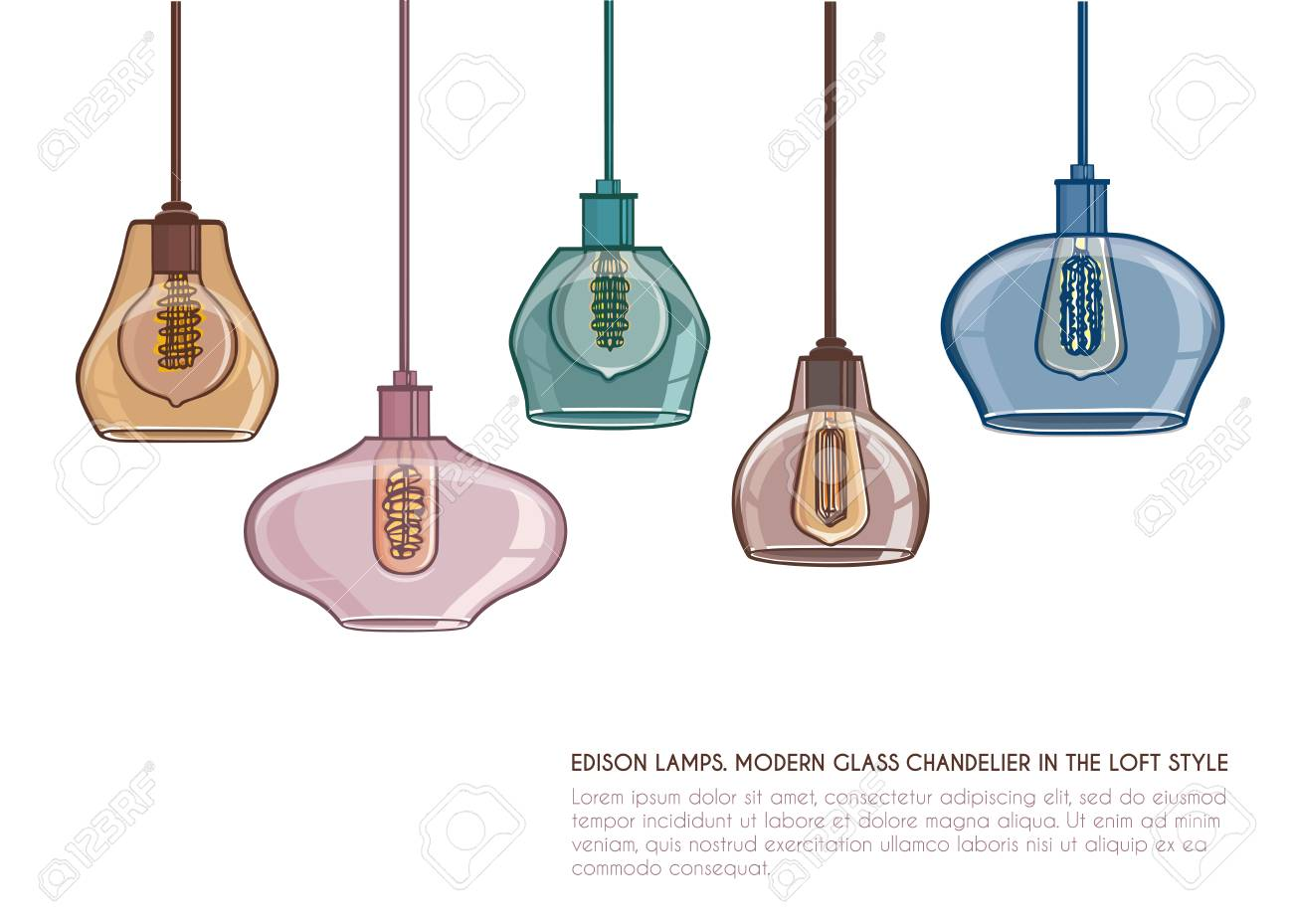 Glass Edison Lamp Nordic Vintage Glass Pendant Lamp American Country Kitchen Lights