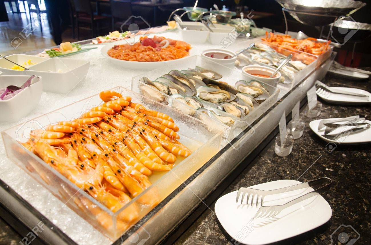 Buffet Cuisine Cuisine Seafood Line At Food Buffet Service For People Serve