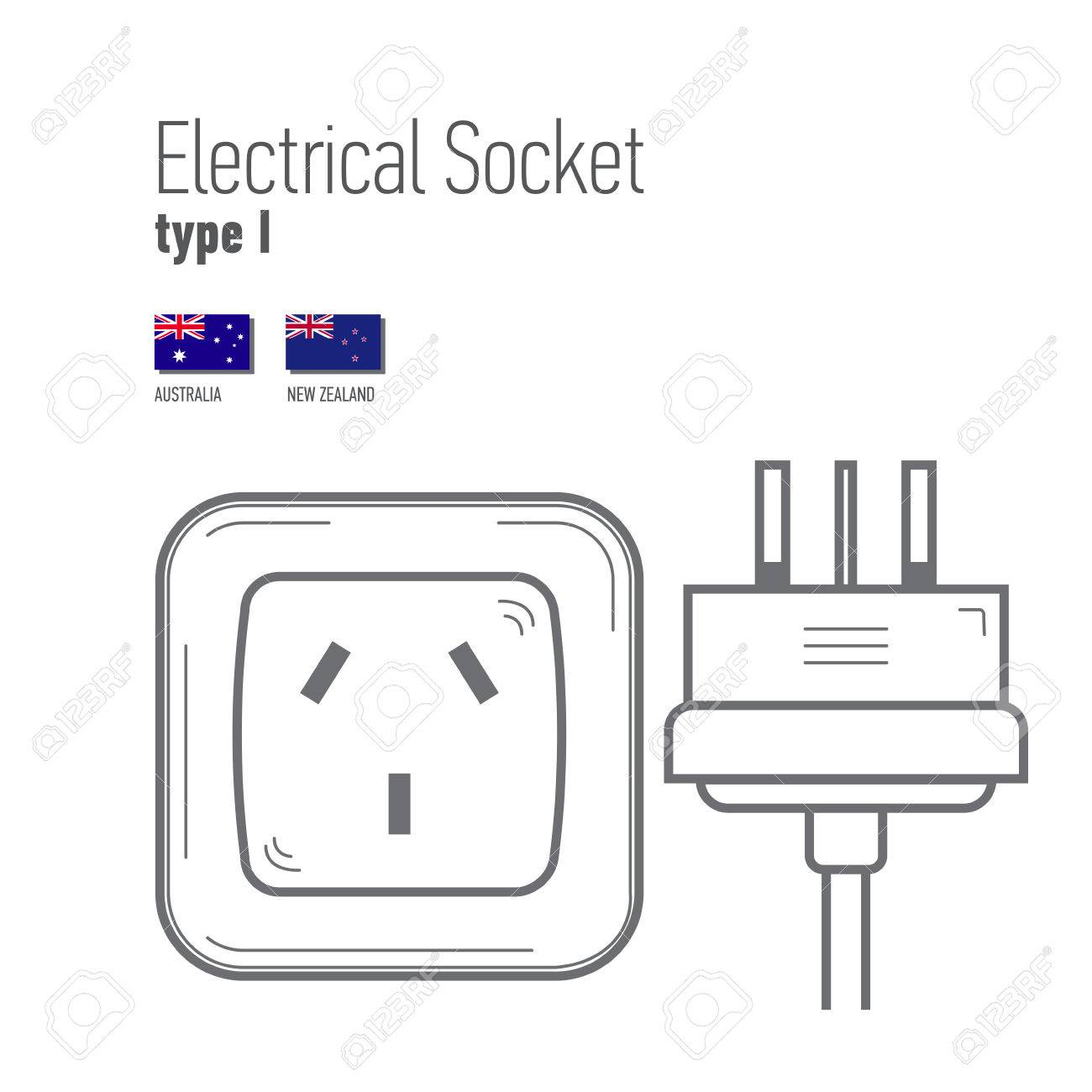 Australia Power Socket Switches And Sockets Set Type I Ac Power Sockets Realistic