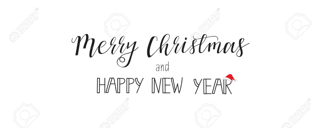 Merry Christmas And A Happy New Year Vector Greeting Card Banner