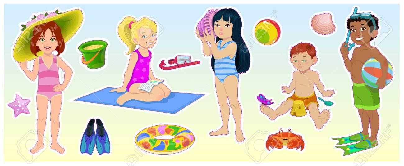 Cartoon Children On The Summer Beach Set Of Cute Kids Vector - cartoon children play