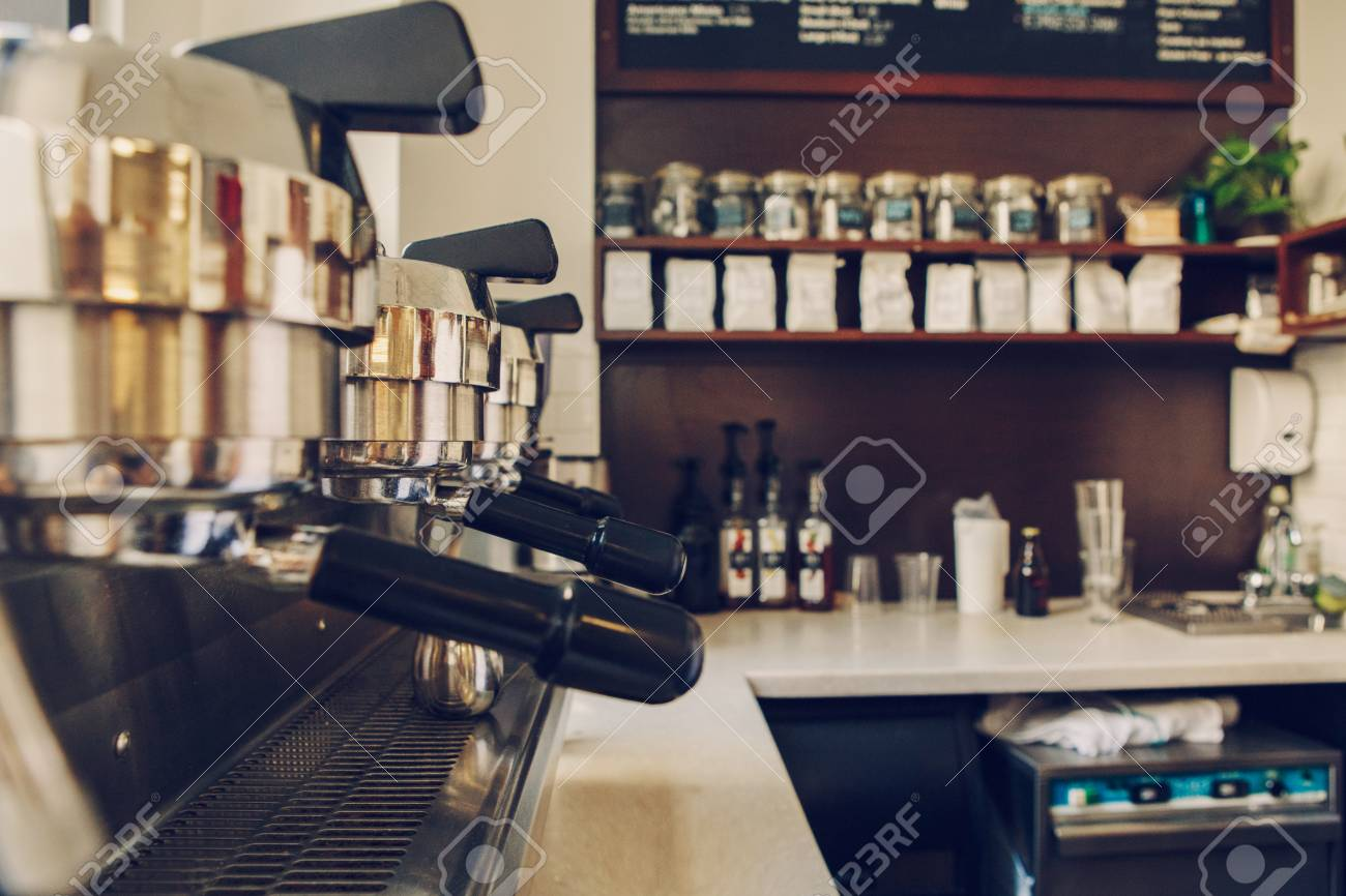 Machine A Cafe Professional Coffee Maker Interior Of Coffee Shop Closeup Of