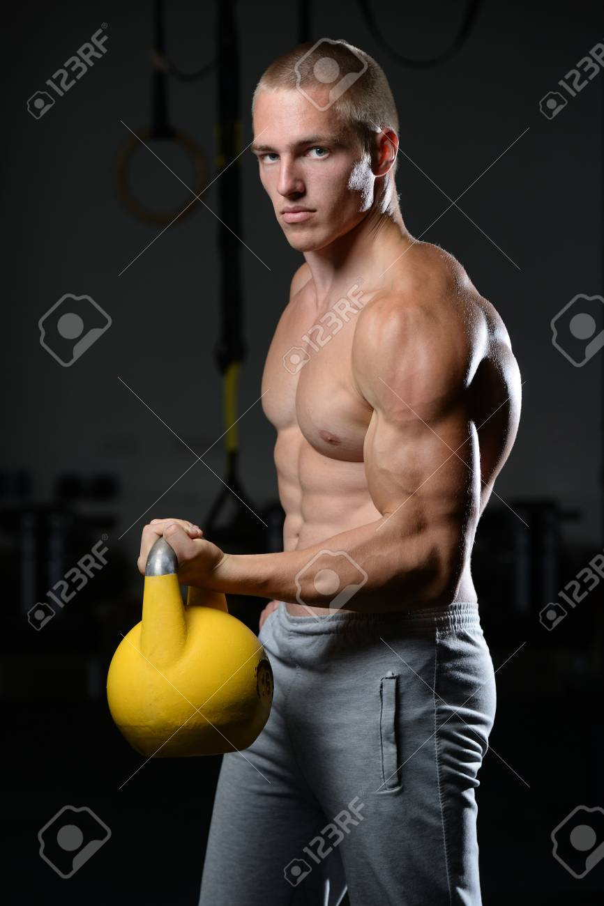 Kettlebell Bodybuilding Handsome Young Muscular Caucasian Man Of Model Appearance Working