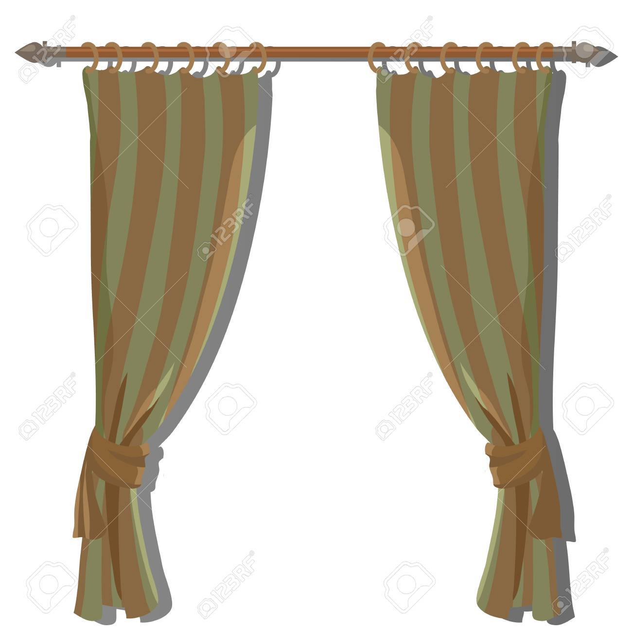 Green Striped Kitchen Curtains On The Ledge Vector Decor Royalty Free Cliparts Vectors And Stock Illustration Image 58060445
