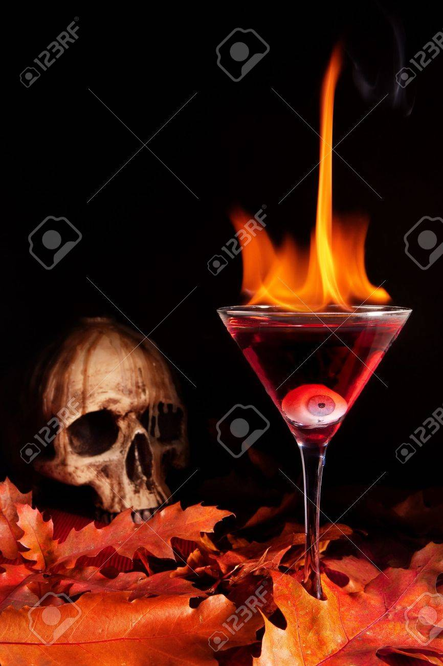 Cocktail Halloween Burning Halloween Cocktail With Skull And Glass Eye