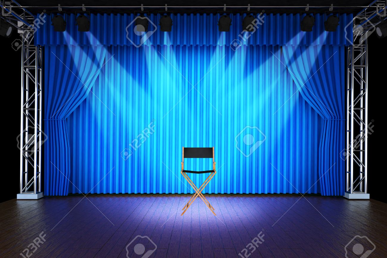 Blue curtain backdrop - Behind Stage Curtains Background Blue Curtain Background Empty Chair With Spotlight On Stage Of Blue