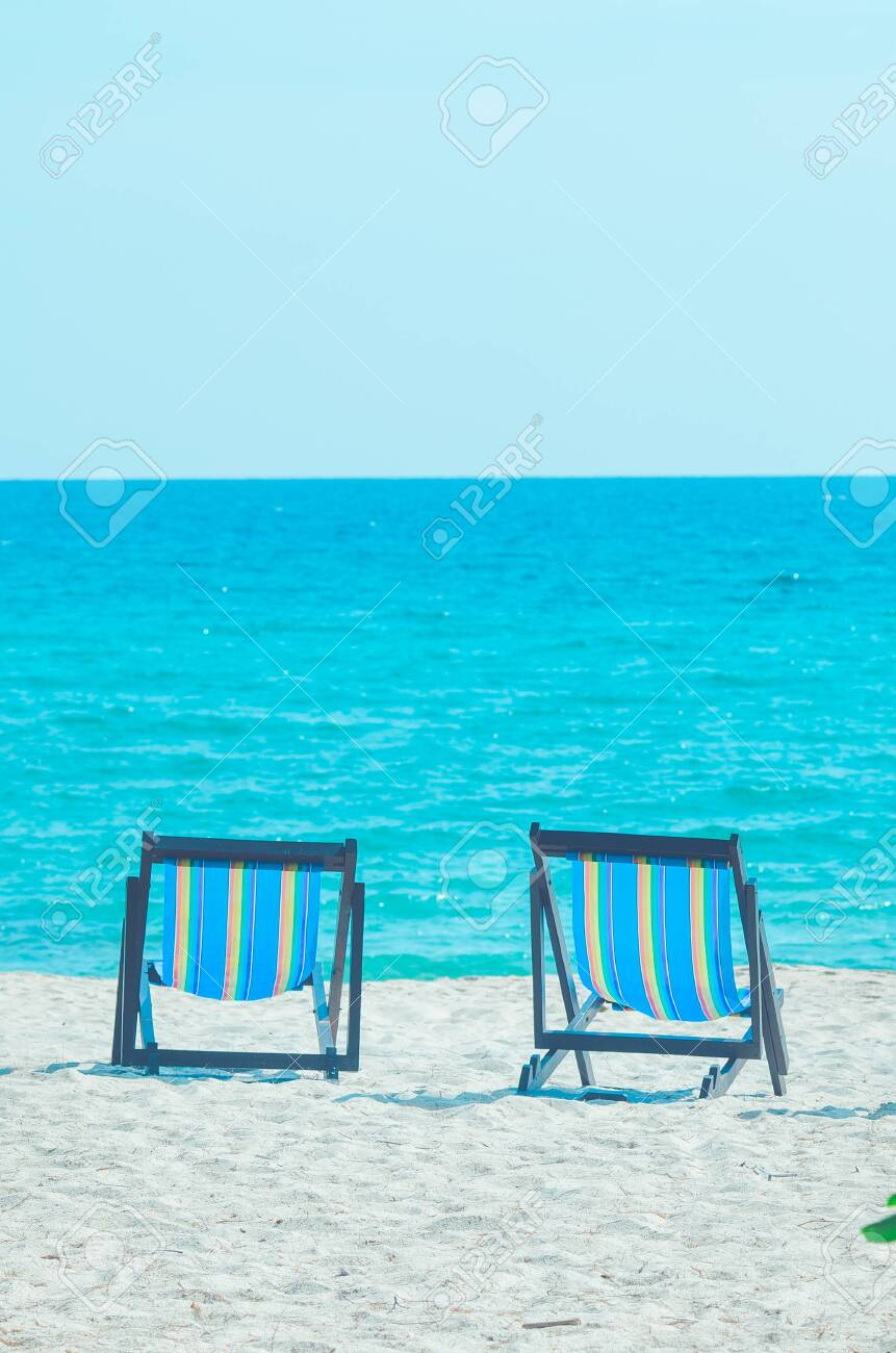 2 Beach Chairs On The Beach At The Sea Stock Photo Picture And Royalty Free Image Image 136130004