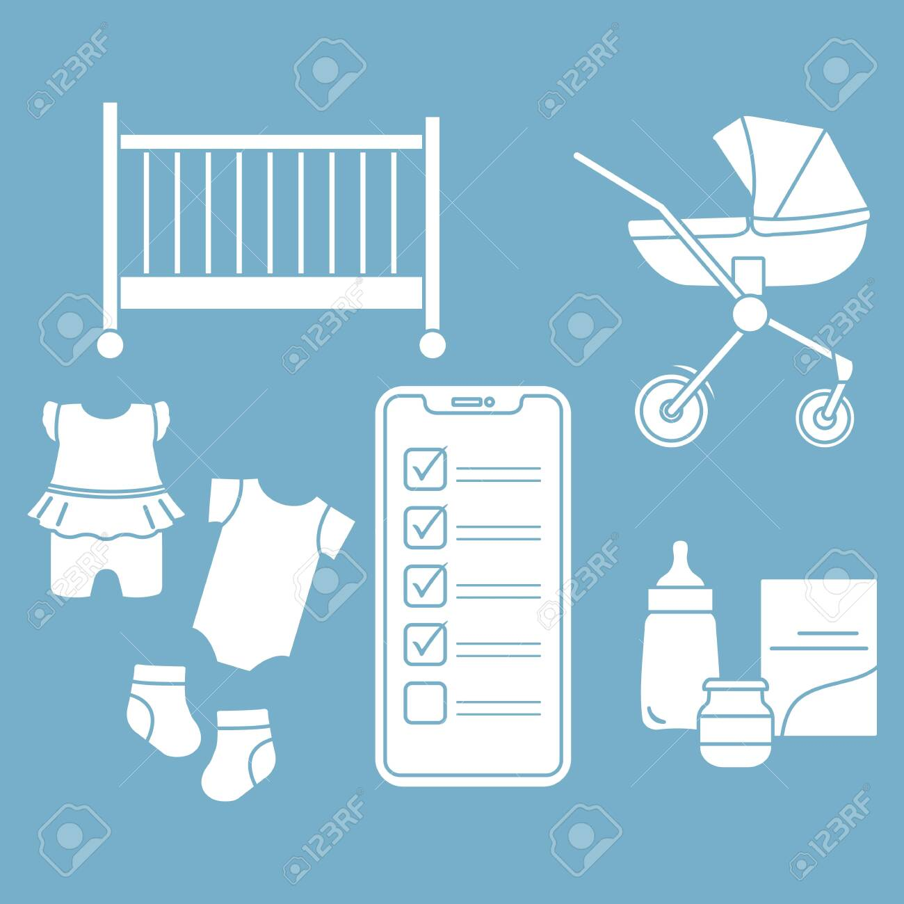 Newborn Babies Online Shopping Vector Illustration With Smartphone With Checklist Newborn Baby