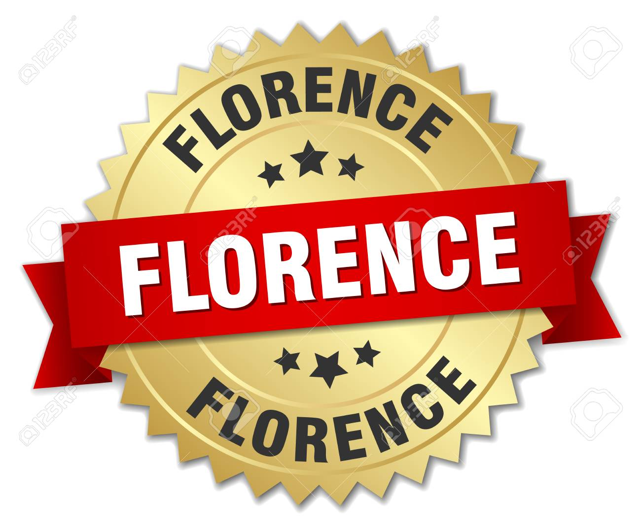 Florence Round Florence Round Golden Badge With Red Ribbon