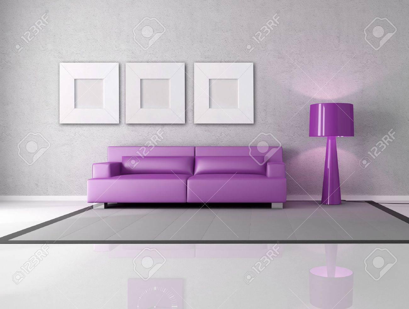 Salon Gris Violet | Tapis Mauve