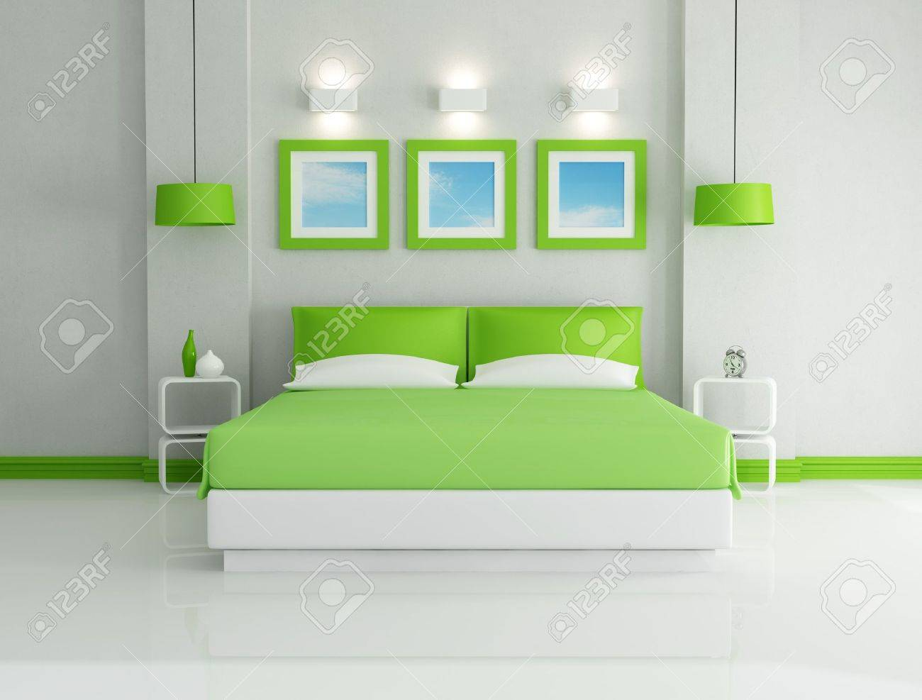 Schlafzimmer Hell Modern Stock Photo