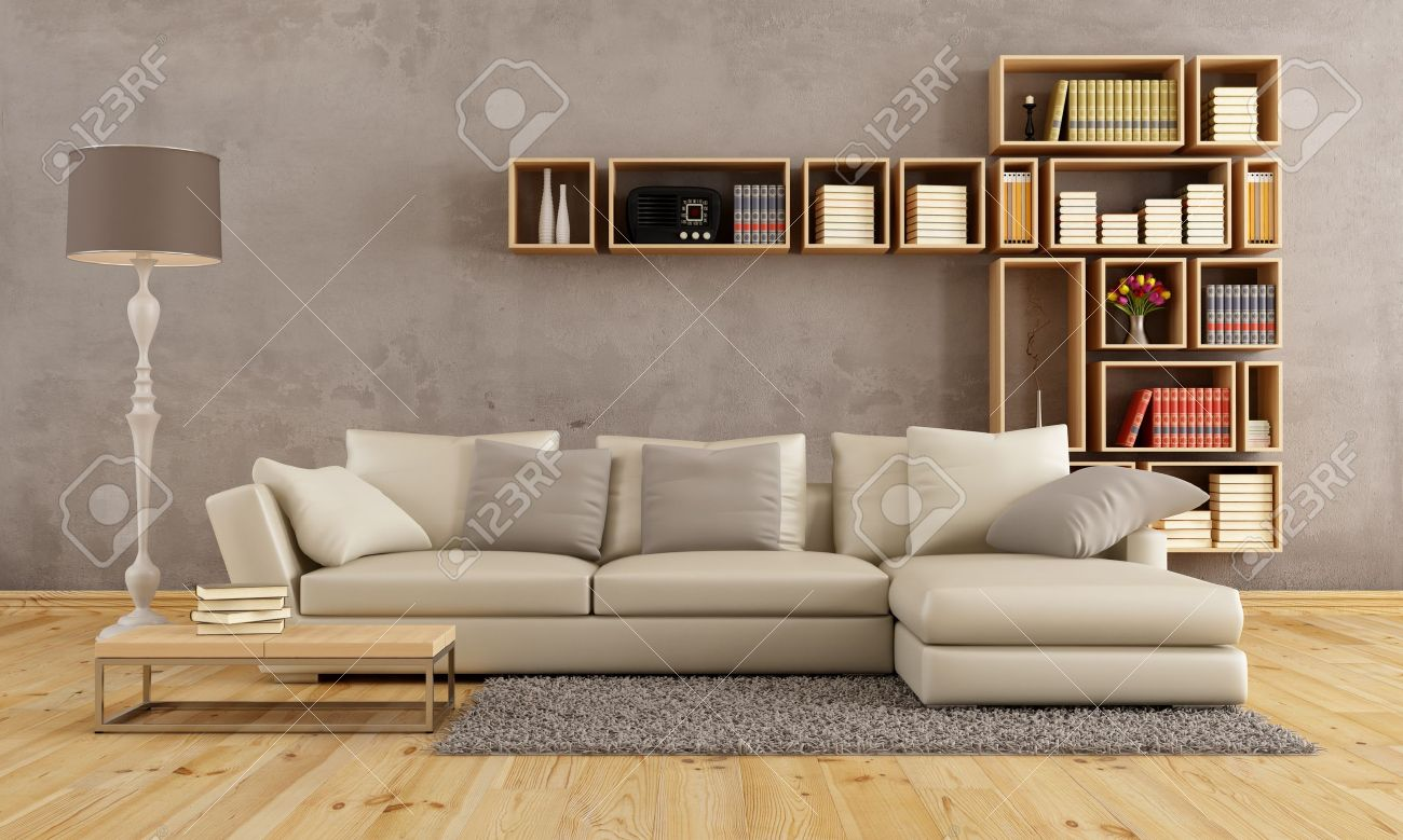 Bücherregal Wohnzimmer Stock Photo