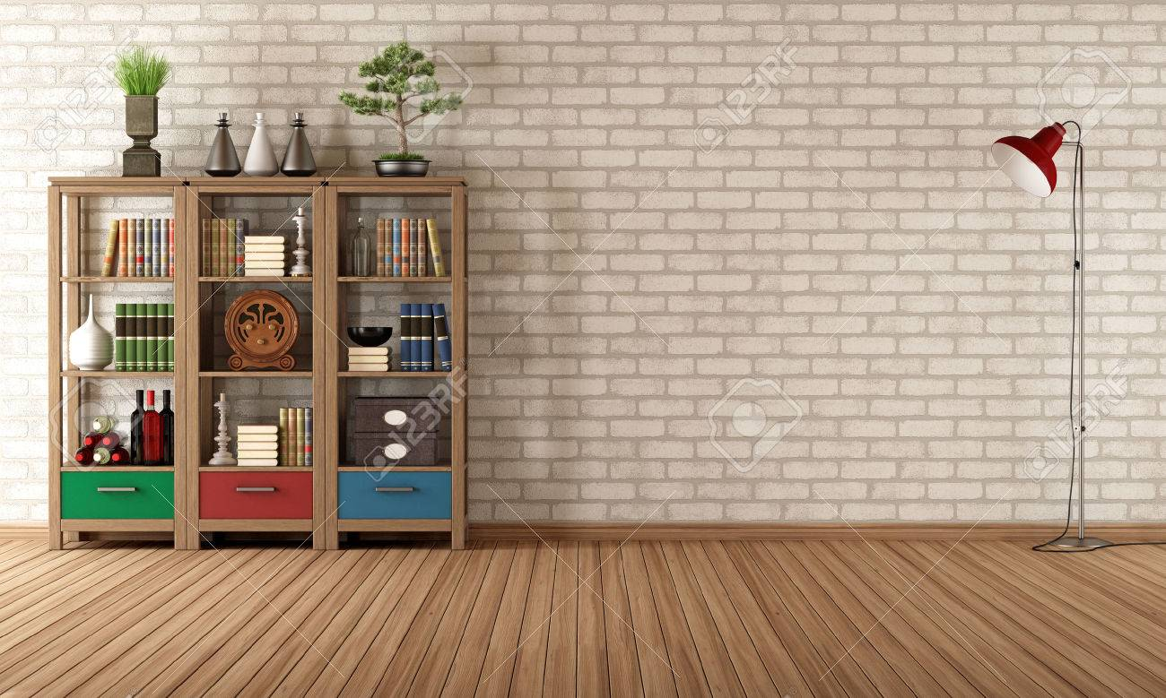 Vintage Bookcase Empty Living Room With Vintage Bookcase Rendering