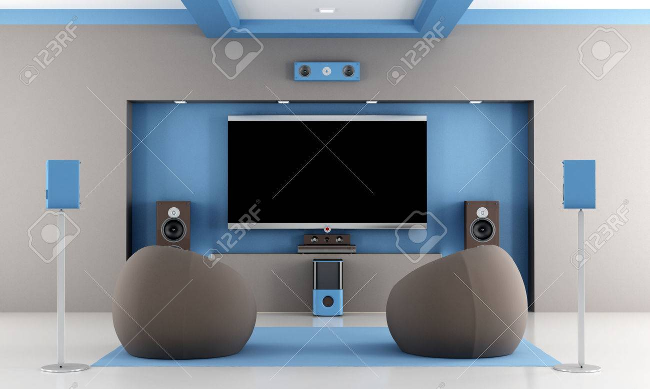 Home Cinema Sessel Modern Brown And Blue Home Theater With Two Fashion Armchair