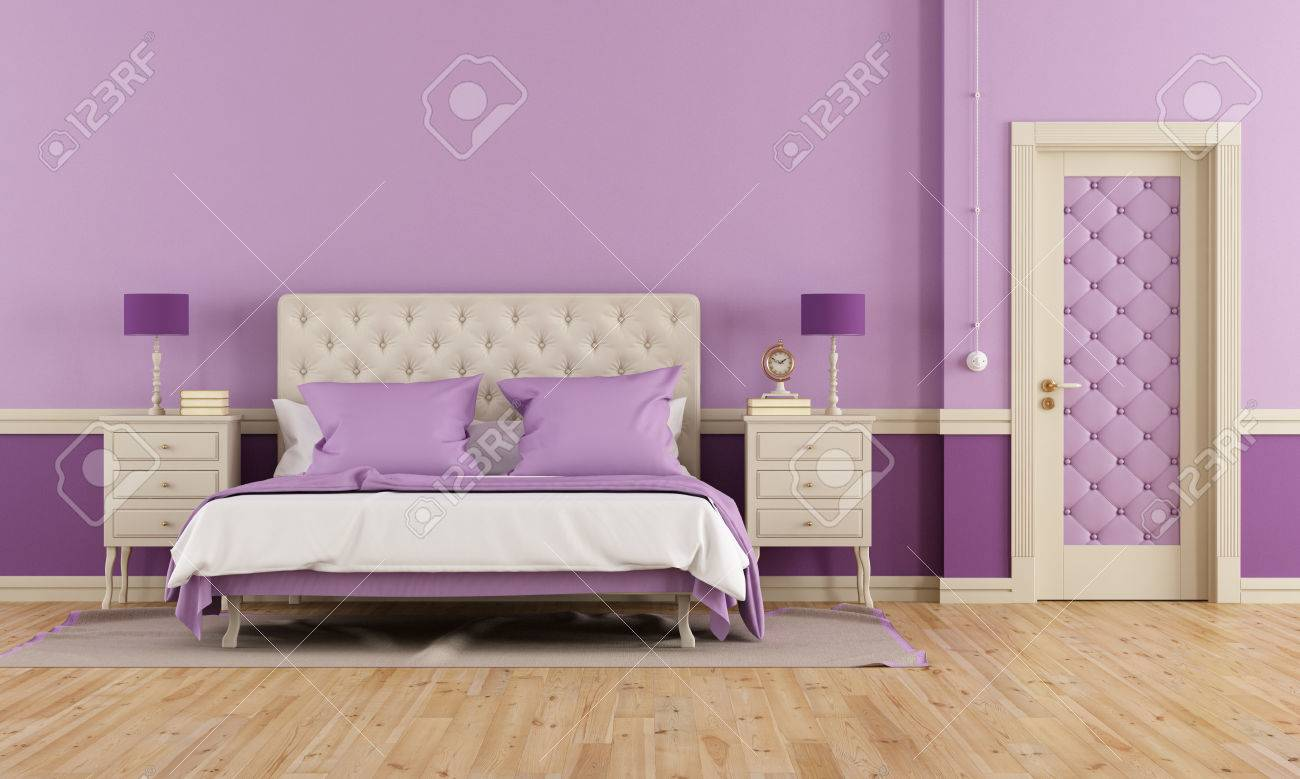 Lila Schlafzimmer Stock Photo