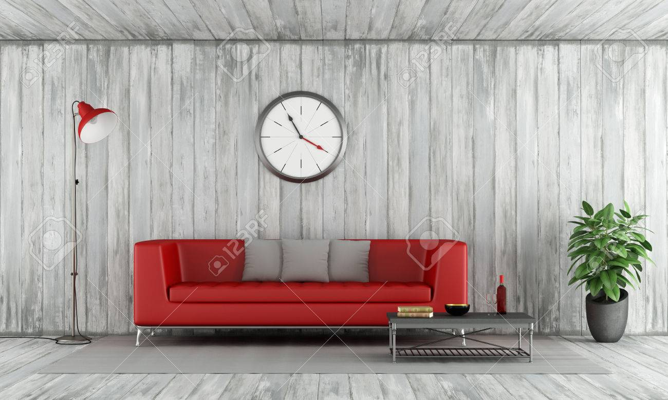 Roter Couchtisch Stock Photo