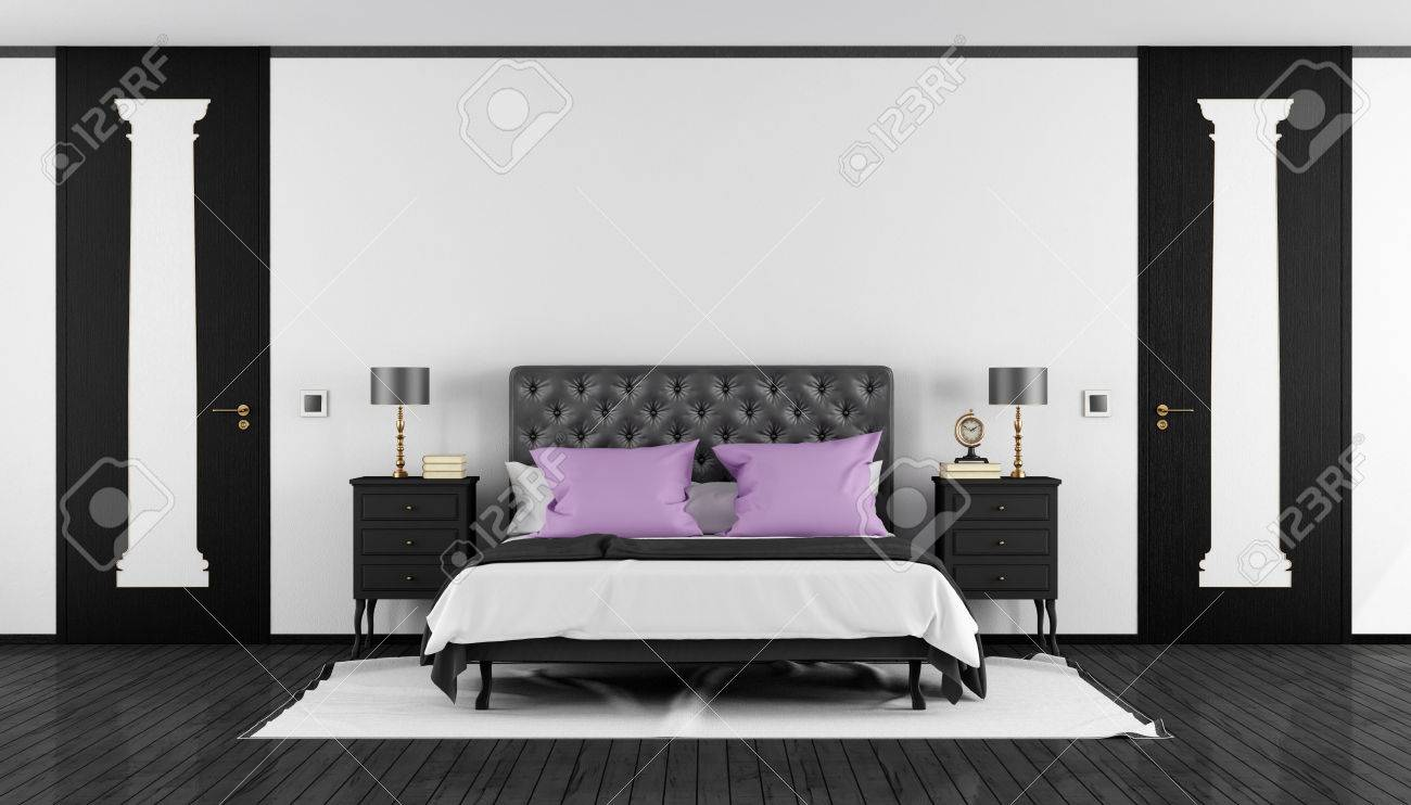 Schlafzimmer Bett Tür Stock Photo