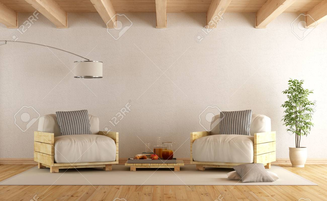 Palettensessel Modern Living Room With Pallet Armchairs And Coffee Table 3d