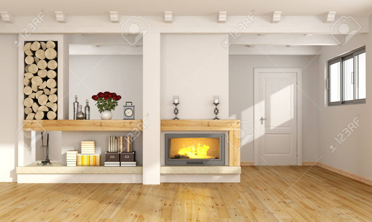 Fireplace Beams White Living Room With Fireplace Wooden Beams And Closed Door
