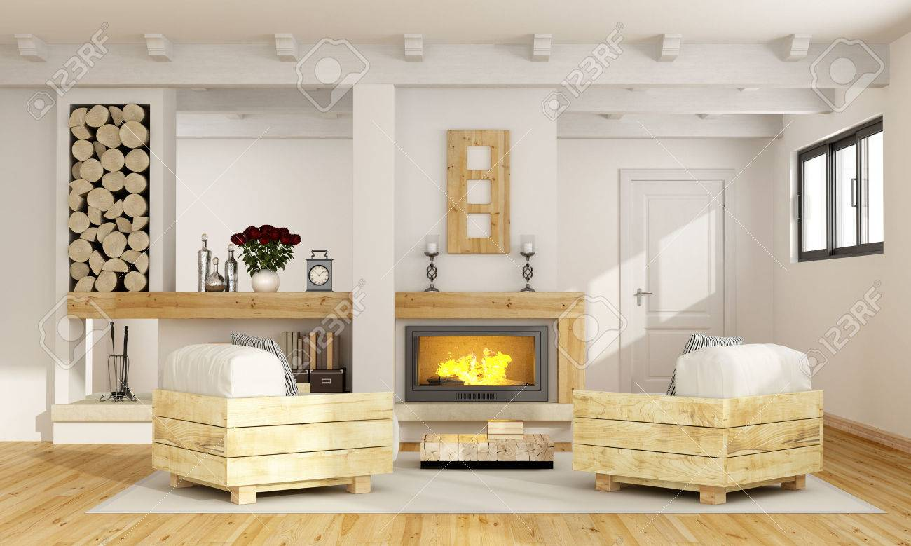 Palettensessel Rustic Room With Fireplace And Two Pallet Armchair 3d Rendering