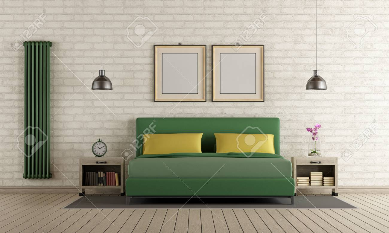 Bed Heater Contemporary Master Bedroom With Green Double Bed Brick Wall
