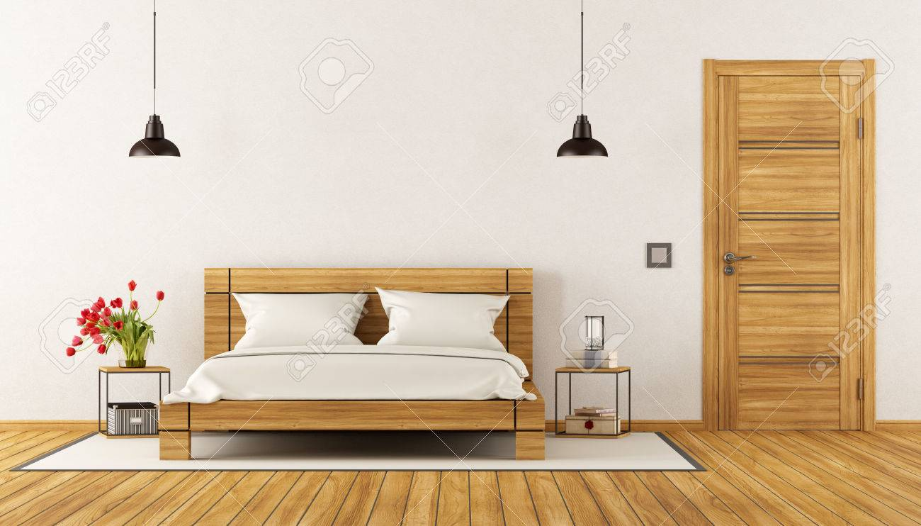 Schlafzimmer Holz Bett Stock Photo
