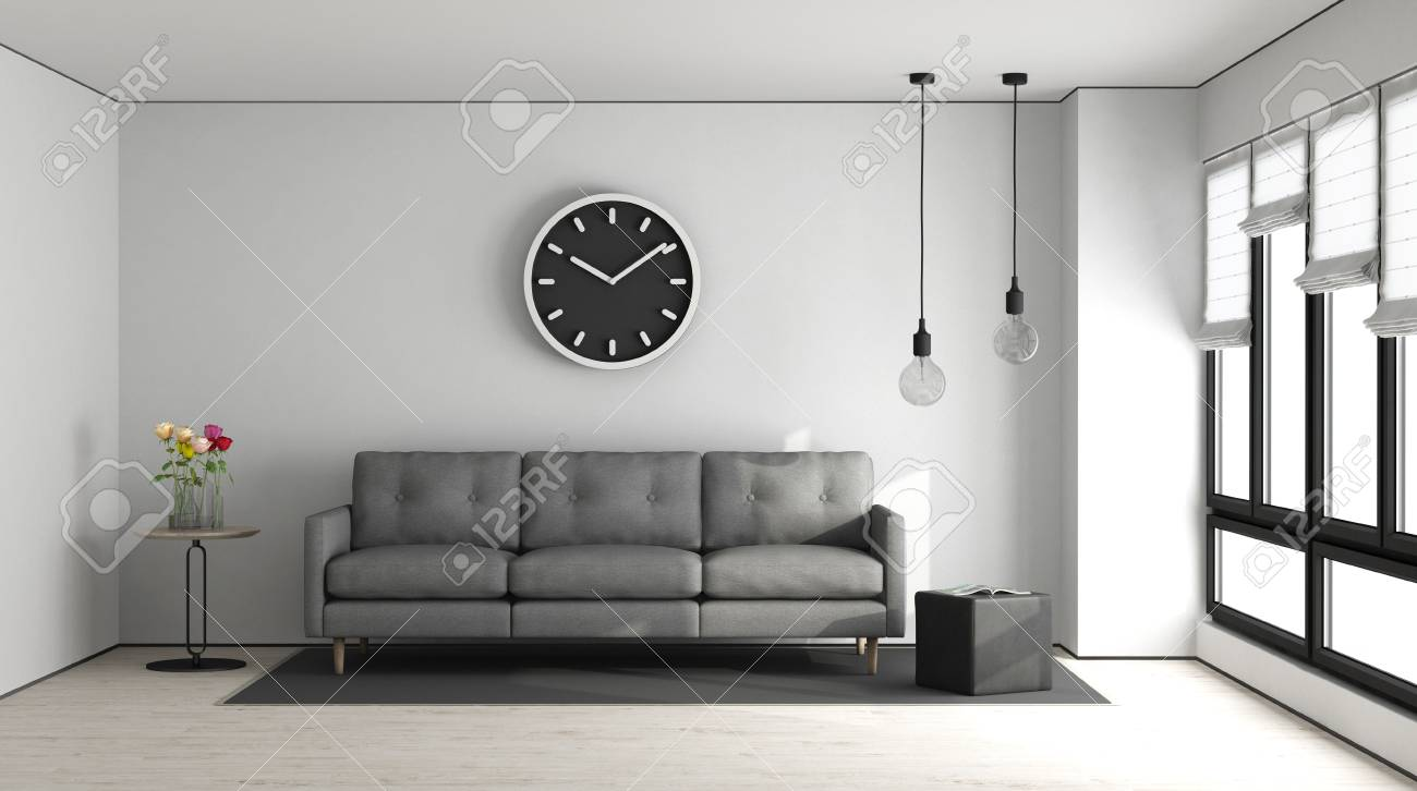Gray Sofas For Living Room Minimalist Living Room With White Wall And Gray Sofa 3d Rendering