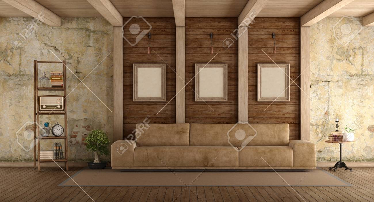 Retro Sofa Wood Retro Living Room With Leather Sofa Old Wall And Wooden Beams