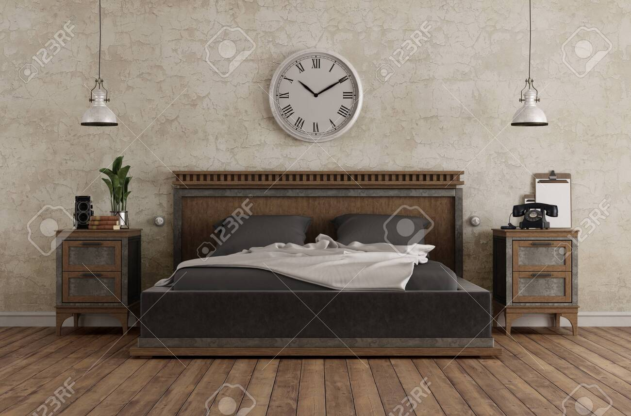 Master Bedroom In Vintage Style With Double Bed And Bedside Tables Against Old Wall 3d Rendering Lizenzfreie Fotos Bilder Und Stock Fotografie Image 132504932