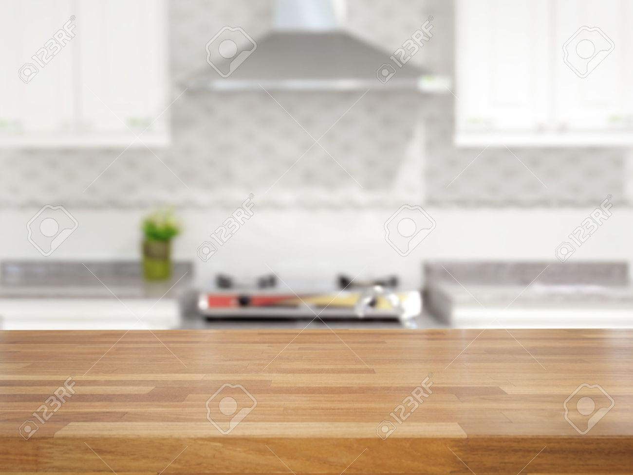 Table Kitchen Empty Wooden Table And Blurred Kitchen Background Product Display