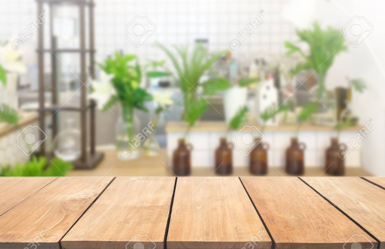Table Kitchen Empty Wooden Table And Modern Kitchen Background Nature And