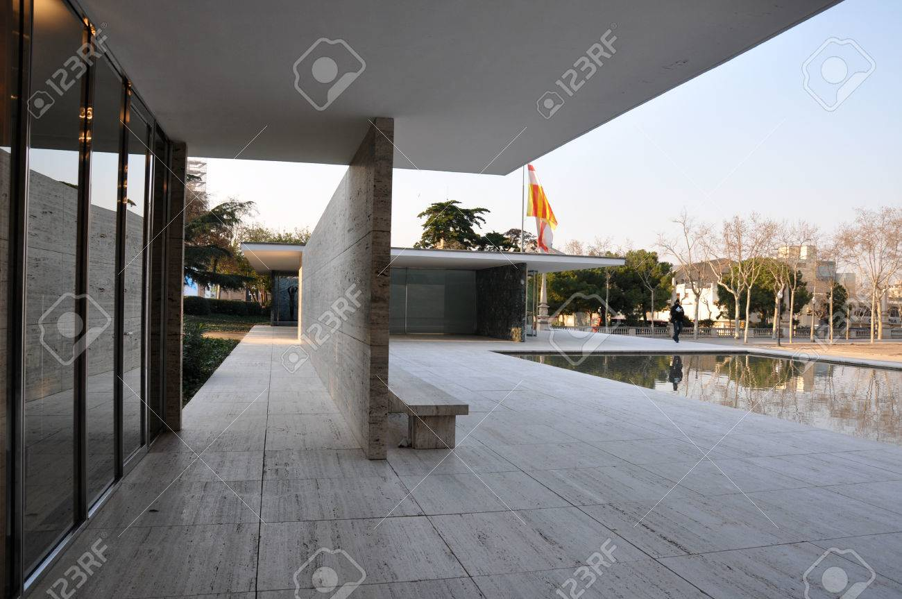 View Of Reflecting Pool And Corridor At Barcelona Pavilion By Stock Photo Picture And Royalty Free Image Image 62425576
