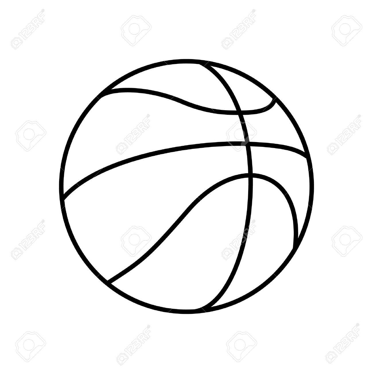 Basketball Ball Black And White Basketball Ball Outline Vector Icon Isolated