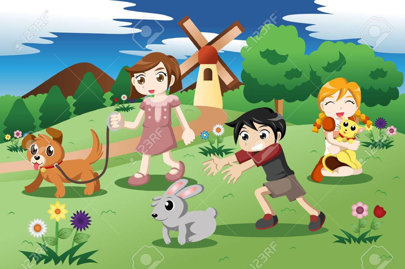 Playing garden drawing for kids - Playing Garden Drawing For Kids Illustration Of Cute Kids Playing With Their Pets In The Download