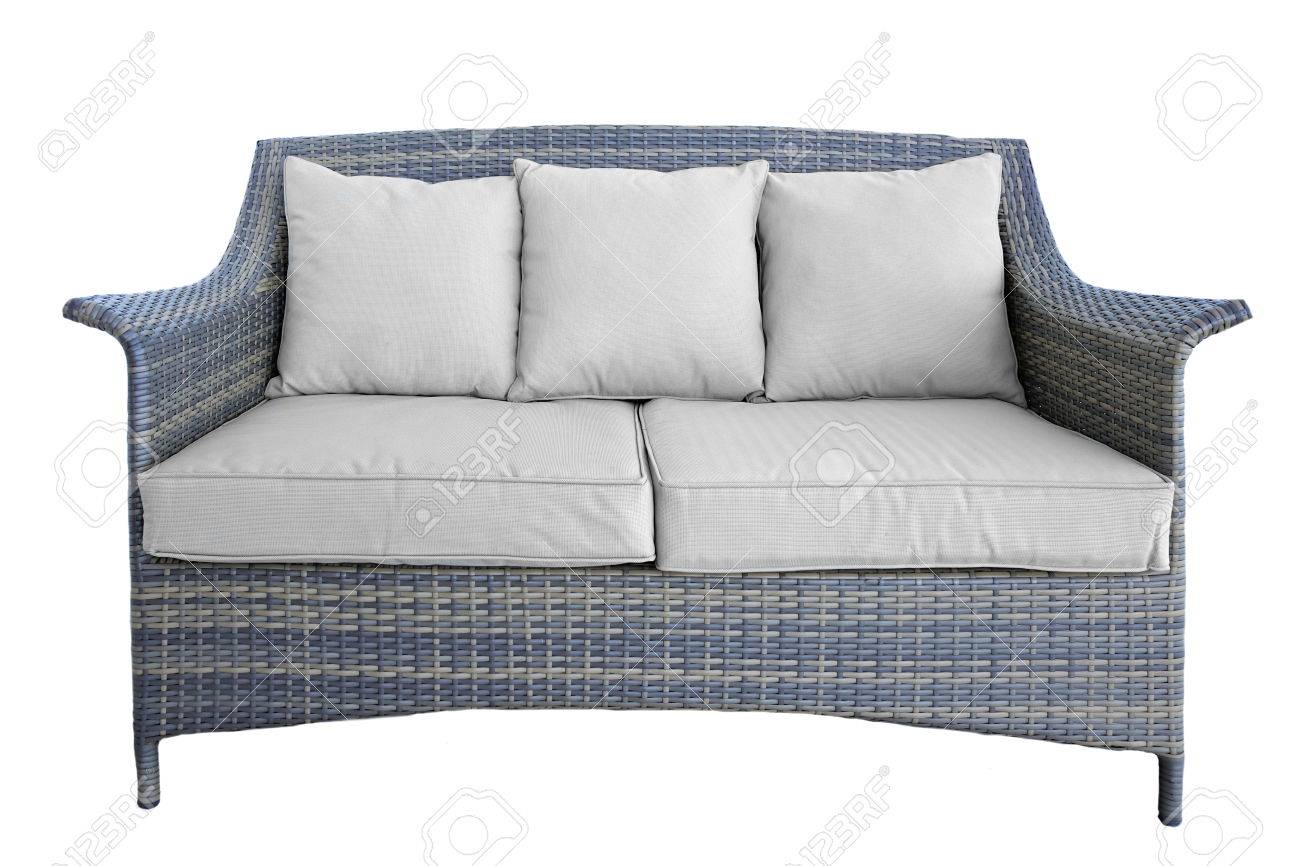 Garden Sofa Two Seater Outdoor Rattan Grey Lounge Garden Couch With Two Seat And Cushions