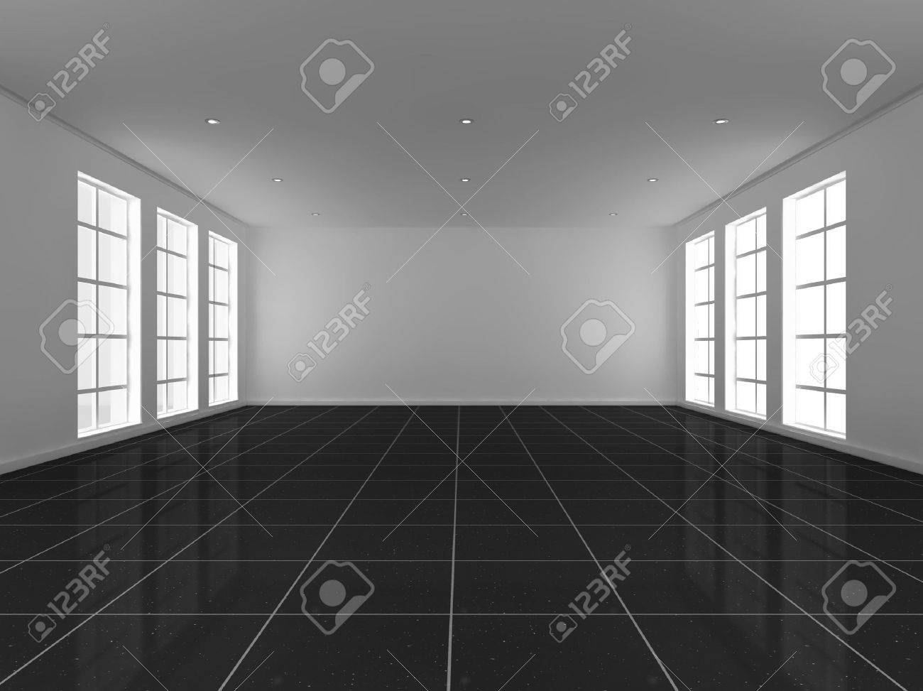 Empty living room with large windows can be as background stock - Empty Living Room With Large Windows Can Be As Background Stock Empty Room 3d Illustration Download
