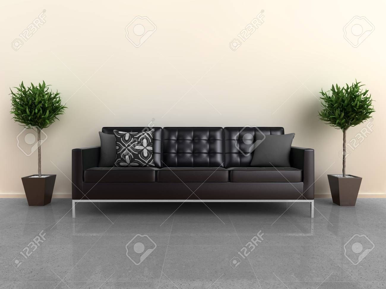 Designer Couch Illustration Of A Designer Sofa With Plants Either Side On